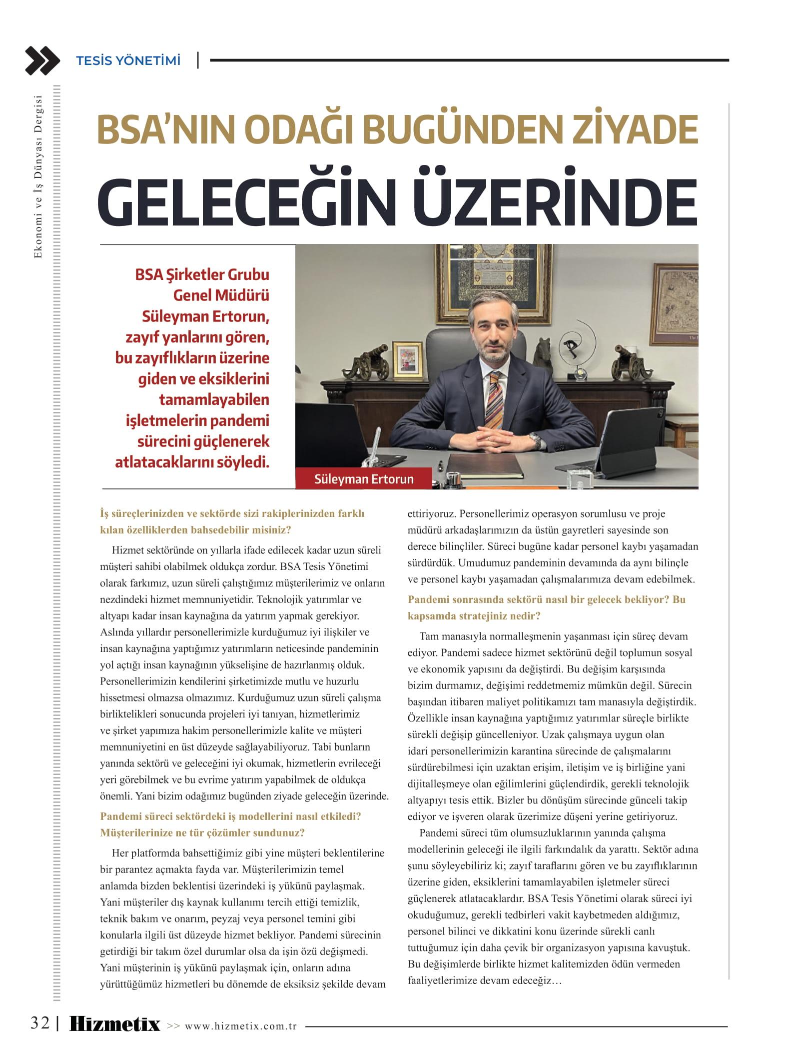 BSA Tesis Yönetimi Süleyman Ertorun>